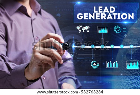 Technology, Internet, business and marketing. Young business person sees the word: lead generation
