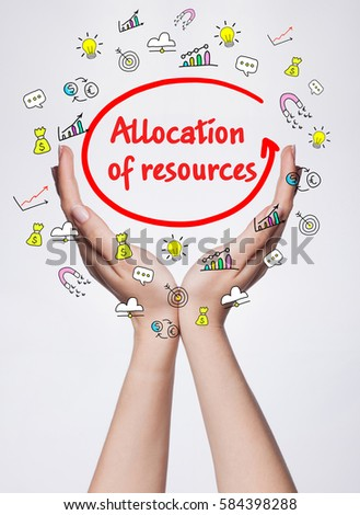 Technology, internet, business and marketing. Young business woman writing word: Allocation of resources