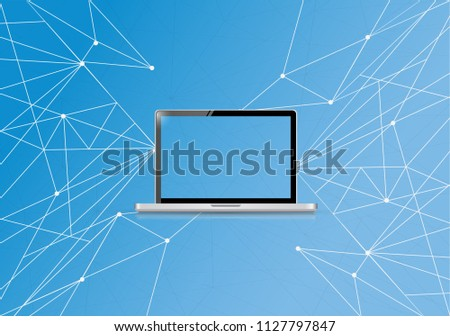 Technology link network diagram. bussiness concept illustration. over a blue background