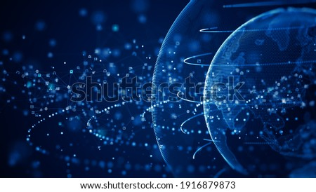 Technology Network Data Connection. Digital Data Network and Cyber Security Concept. Social Network Connections Future Abstract Background. 3d rendering
