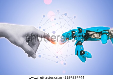 Technology of robot or robotic engineering connected era future for people concept