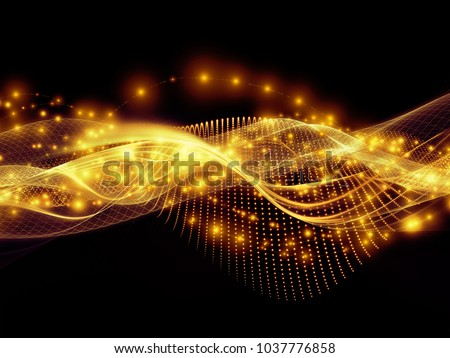 Technology of Space series. Abstract composition of waves, grids and lights suitable in projects related to technology, science and the world of computer information