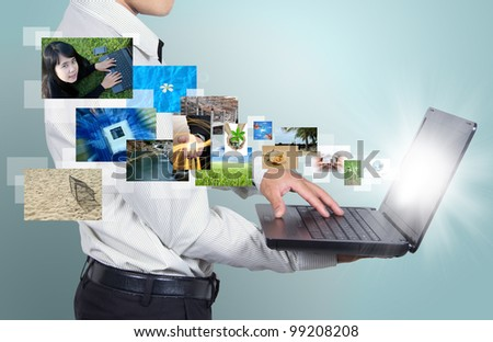 Technology of the computer in hands businessman.