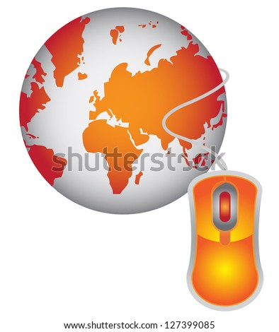 Technology or Internet and Online Concept Present By Orange Globe With Orange Mouse  Isolated on White Background