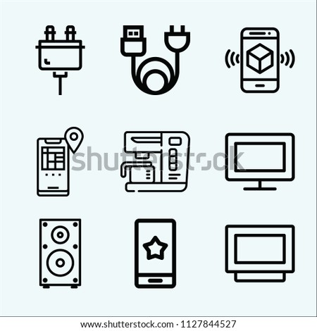 Technology related set of 9 icons such as smartphone, location, charge, plug, coffee machine, television