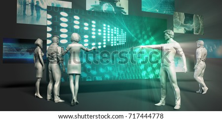 Technology Research Concept with Virtual Presentation Background 3D Illustration Render