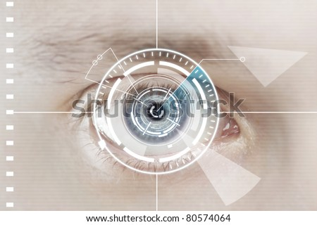 Technology scan man's eye for security or identification. Eye with scanner and computer interface