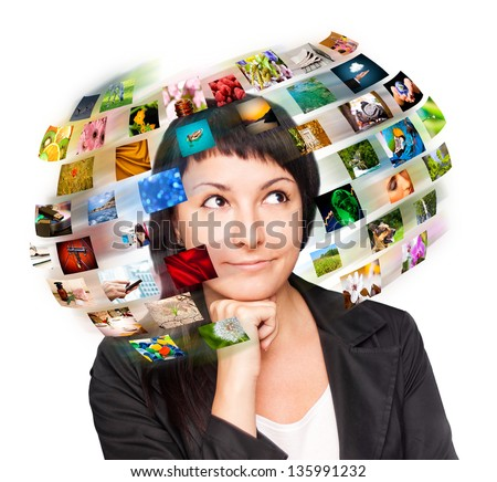 Technology television concept. Images around in woman head. - stock photo