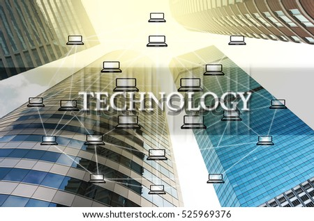 Technology Text and Distributed computer network over the Modern business building glass of skyscrapers, Distributed ledger technology concept, Block chain Technology trend concept