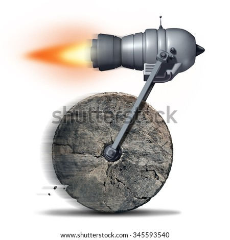 Technology upgrade business concept as an ancient stone wheel with a rocket engine or jet motor attached for increased speed and performance as a success metaphor for innovating on old ideas.