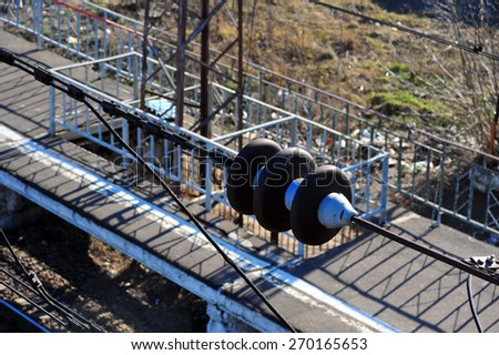 Technology wires. Railway station top view with wire transfer. Station platform with construction equipment.