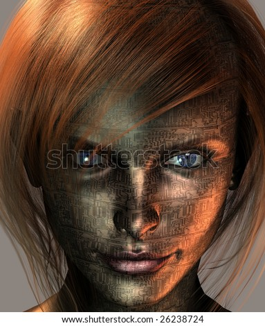 Technology Woman with Earth Eye