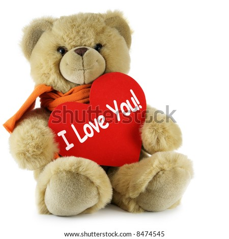 "stock photo : Teddy bear and big red heart with text ""I Love You"""