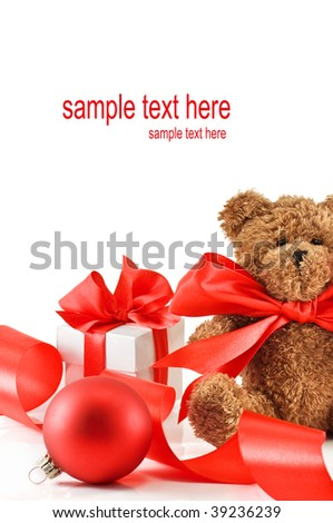 teddy bear and gift isolated