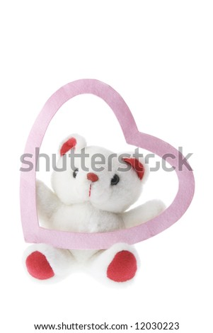 stock photo : Teddy Bear and Love Heart on White Background