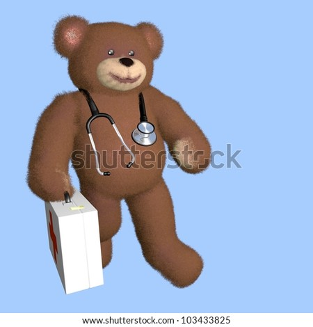 Teddy bear doctor, with stethoscope and doctor's bag
