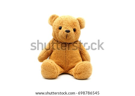 teddy bear doll on white background.