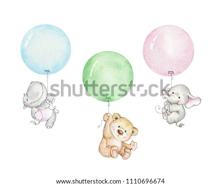 Teddy bear, elephant and hippopotamus flying on balloons