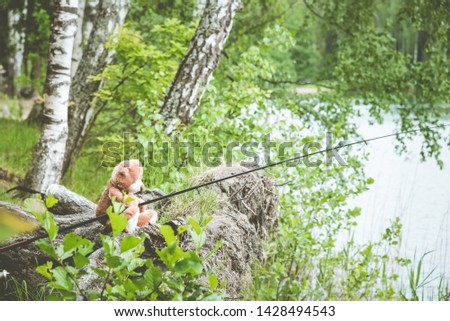 Teddy bear fisherman. Brown teddy bear sits by the lake with a fishing rod and catches fish. Summer nature idyllic landscape #1428494543