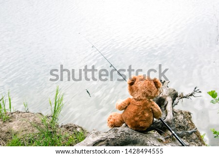 Teddy bear fisherman. Brown teddy bear sits by the lake with a fishing rod and catches fish. Summer nature idyllic landscape #1428494555