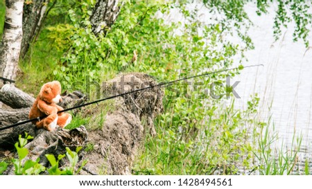 Teddy bear fisherman. Brown teddy bear sits by the lake with a fishing rod and catches fish. Summer nature idyllic landscape #1428494561