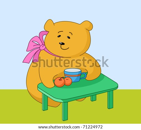 Teddy bear girl sits at a table, eats peaches and drinks juice from a mug