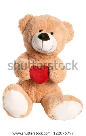 Teddy Bear holding a heart / Teddy Bear - stock photo