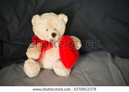 teddy bear holding a red heart #1070852378