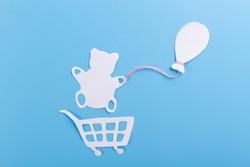 teddy bear holding air balloon. cartoon style