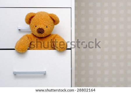 Teddy bear in dresser