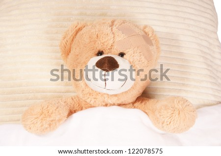 Teddy Bear lying in the bed / Teddy bear