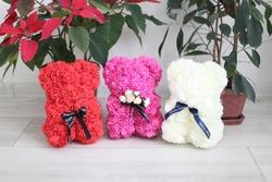 Teddy bear made of roses