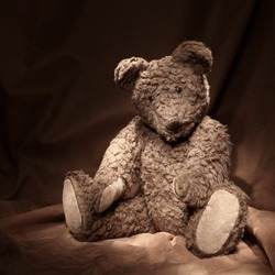 Teddy bear on brown background