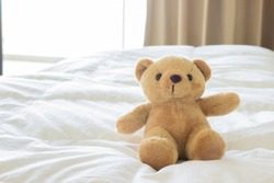 Teddy bear on comfort bed