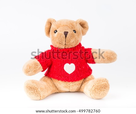 Teddy Bear on isolate background cute art nice love floor baby play child one joy doll studio toy object animal concept romantic retro worry young give apologize forgiveness plush single babe old #499782760