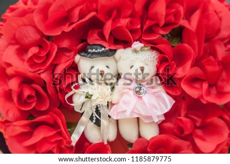 Teddy bear on red lace flower #1185879775