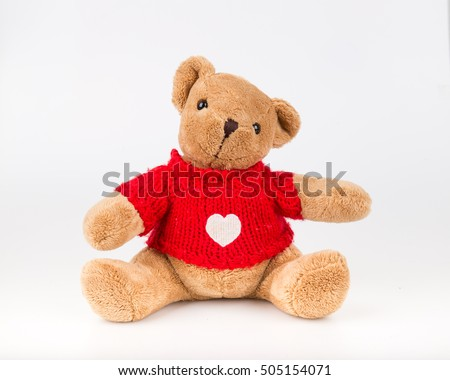 Teddy Bear on white background. bow cute art nice love floor baby play child one joy doll studio toy object animal concept romantic retro worry young give apologize forgiveness plush single babe old #505154071