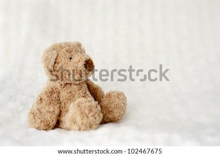 teddy bear seated on white carpet