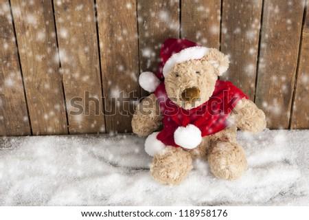 Teddy bear sitting in the snow