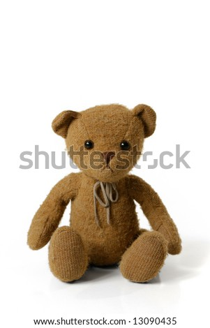 Teddy Bear Sitting Isolated on White