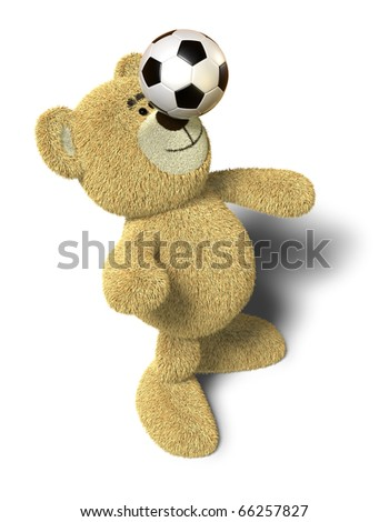 Teddy Bear stands with both feet on the ground, leans back and tries to balance a soccer ball on his nose. This image is isolated on a white background with soft shadows. - stock photo