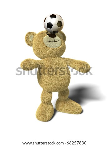 Teddy Bear stands with both feet on the ground, leans back and tries to balance a soccer ball on his nose. Viewed from front. This image is isolated on a white background with soft shadows.
