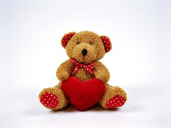Teddy bear toy isolated on white background ,happy valentines