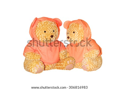 Teddy bear wearing orange shirt isolated on white background. This has clipping path. #306816983