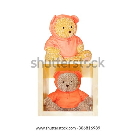 Teddy bear wearing orange shirt isolated on white background. This has clipping path. #306816989