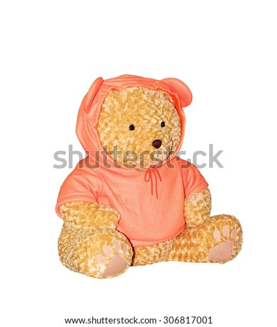 Teddy bear wearing orange shirt isolated on white background. This has clipping path. #306817001
