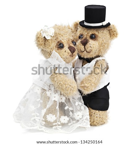 Teddy bear wedding couple