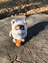 teddy bear winnie autumn day