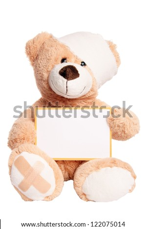 Teddy Bear with Bandage and empty Sign / Teddy Bear