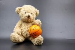 Teddy bear with basketball is on black background